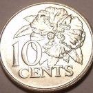 Gem Unc Trinidad And Tobago 1978 10 Cents~Hibiscus~Free Shipping