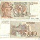 YUGOSLOVIA 20,000 DINERA HIGH DENOMINATION NOTE~FR/SHIP