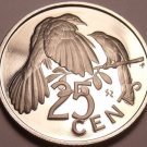 Proof British Virgin Islands 1973 25 Cents~Mangrove Cuckoo~Awesome~Free Shipping