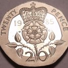 Super Cameo Proof Great Britain 1985 20 Pence~Proof Coins Are Struck Twice~Fr/Sh