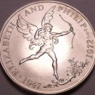 Rare Guernsey 1972 25 Pence~Elizabeth And Phillip 25th Anniversary~Cupid~Fr/Ship