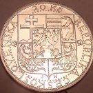 Unc Silver Czechoslovakia 1937 20 Korun~Death Of President Masaryk~Free Shipping