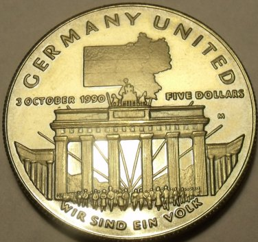 Massive Gem Unc Marshall Islands 1990-M 5 Dollars~Germany Unification~Free Ship