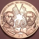 Gem Unc Liberia 1999 5 Dollars~Robert E. Lee And George G. Meade~Gettysburg~Fr/S