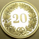 Rare Proof Switzerland Proof 1988-B 20 Rappen~Only 9,000 Minted~Free Shipping