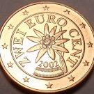 BU 2002 AUSTRIA 2-EURO CENTS~FLOWER COIN~FREE SHIP INC~