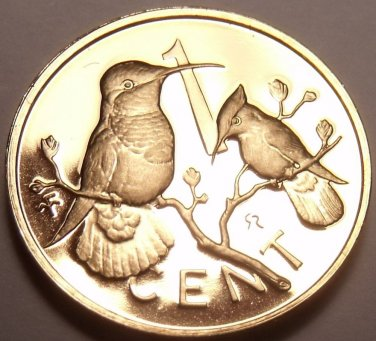 Rare Cameo Proof British Virgin Islands 1979 Cent~Hummingbird~5,304 Minted~Fr/Sh