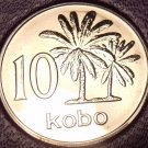 Rare Proof Nigeria 1973 10 Kobo's~1st & Only Year In Proof~Palm Trees~Free Ship