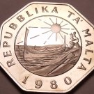 Huge Rare Proof Malta 1980 25 Cents~Only 3,451 Minted~Fantastic~Free Shipping~