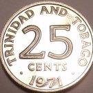 PROOF TRINIDAD & TOBAGO 1971 25 CENTS~12 MINTED~FR/SHIP
