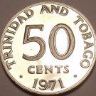 PROOF TRINIDAD & TOBAGO 1971 50 CENTS~12 MINTED~FR/SHIP