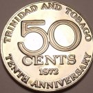 Proof Trinidad & Tobago 1972 50 Cents~10th Anniversary Of Independence~Free Ship