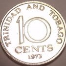 Proof Trinidada & Tobago 1973 10 Cents~Only 20,000 Minted~Free Shipping