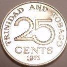 PROOF TRINIDAD & TOBAGO 1973 25 CENTS~~NICE~~FREE SHIP~