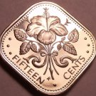 Rare Proof Bahamas 1974 15 Cents~Hibiscus~Triangle Coin~Free Shipping