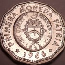 Large Unc Argentina 1966 25 Pesos~Dodecagon~1813 1st Year Of Coinage~Free Ship