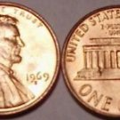BRILLIANT UNCIRC 1969-S LINCOLN CENT~FREE SHIPPING~