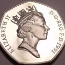 Extremely Rare Cameo Proof Great Britain 1991 50 Pence~Only 10,000 Minted~Fr/Shi