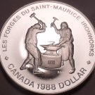 Silver Cameo Proof Canada 1988 Iron Works Dollar~Only 255,013 Minted~Free Ship