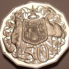 Huge Cameo Proof Australia 1985 50 Cents~Kangaroo & Emu~75k Minted~Free Shipping