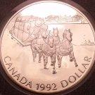 Gem Silver Proof Canada 1992 Dollar~Stagecoach Service~See R Silver~Free Ship