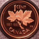 Cameo Proof Canada 1992 Cent~Maple Leaf~125 Years Of The Confederation~Free Ship