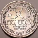 Gem Unc Ceylon 1963 50 Cents~Double Security Edge~1st Year Ever~Free Shipping~