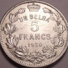Huge Belgium 1930 5 Francs~First Year Ever Minted~Free Shipping