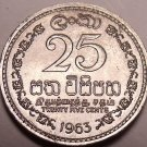 Gem Unc Ceylon 1963 25 Cents~Double Security Edge~1st Year Ever~Free Shipping~