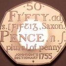 Rare Proof Great Britain 2005 50 Pence~Samuel Johnson Dictionary~Free Shipping