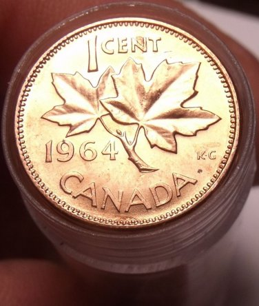 Gem Unc Roll (50 Coins) Canada 1964 Maple Leaf Cents~Free Shipping