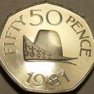 Huge Rare Gem Cameo Proof Guernsey 1981 50 Pence~Cap Of Duke Of Normandy~Fr/Ship
