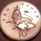 Cameo Proof Great Britain 2002 10 Pence~Crest Of England~Lion~100k Minted~Fr/Shi