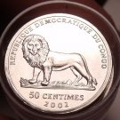 Gem Unc Roll (40 Coins) Congo 2002 50 Centimes~Awesome Lion Coins~Free Shipping