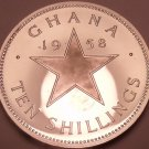 Rare Silver Proof Ghana 1958 10 Schillings~Only 10,000 Minted~Star~Free Shipping