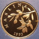 Rare Proof Croatia 1993 20 Lipa~Olive Branch~Only 17,000 Minted~Free Shipping
