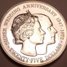 Rare Silver Proof Cayman Islands 1972 $25~Elizabeth And Phillip 25th Year~Fr/Shi