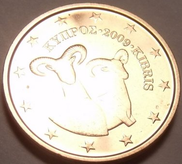 GEM UNC CYPRUS 2009 2 EURO-CENTS~DOUBLE RAMS~FREE SHIP~