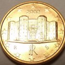 Gem Uncirculated Italy 2002 One Euro Cent, 1st Year Ever Minted, Free Shipping.