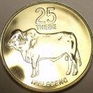 RARE PROOF BOTSWANA 1976 25 THEBE~1ST YEAR EVER~LOW MINTAGE~ZEBU~FREE SHIPPING~