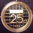 Rare Encapsulated Proof Netherlands 1982 25 Cents~10,000 Minted~Free Shipping