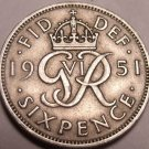 Great Britain 1951 6 Pence~Great For Weddings & Getting Married~Free Shipping