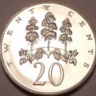 LARGE JAMAICA PROOF 1969 20 CENTS~MAHOE TREE~FREE SHIP~