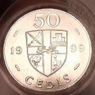 Gem Unc Roll (20 Coins) Large Ghana 1999 50 Cedis Coins~Double Drums~Free Ship~
