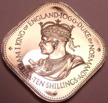 Rare Proof Guernsey 1966 10 Shilling~Only 10,000 Minted~Norman Conquest~Free Shi