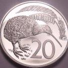 Large Cameo Proof New Zealand 1984 20 Cents~10,000 Minted~Kiwi Bird~Free Ship~