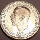 HUGE SILVER UNCIRCULATED SWEDEN 1950-TS 2 KRONER~FR/SHI