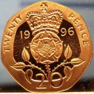 Gem Cameo Great Britain Proof 1996 20 Pence~Crowned Rose~Free Shipping