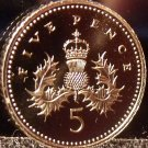 Gem Cameo Great Britain Proof 1996 5 Pence~Crowned Thistle~Free Shipping