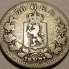 Rare Norway Silver 1877 50 Ore~1st Year Minted This Type~Scarce~Free Shipping~